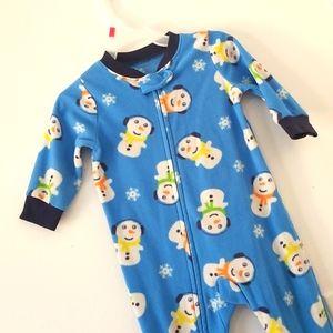Carter's baby boy snowman graphic onesie pajama 12 months